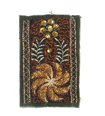 """E5943 Denim Patch with Gold Accents 2.5"""""""