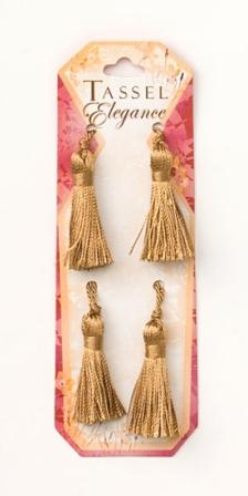 E5970  Set of 4   Beige Brown Mini Tassels 2""