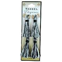 """E5970  Set of ( 4 )  Black & White Mini Tassels 2"""""""