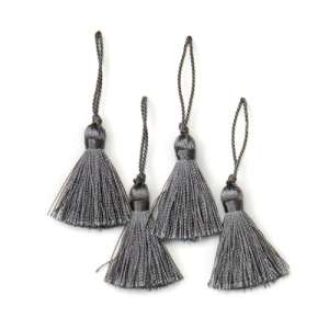 E5970  Set of ( 4 )  Pewter Gray Mini Tassels 2""