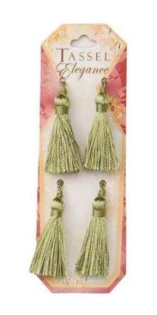 E5970  Set of ( 4 )  Sage Green Mini Tassels 2""