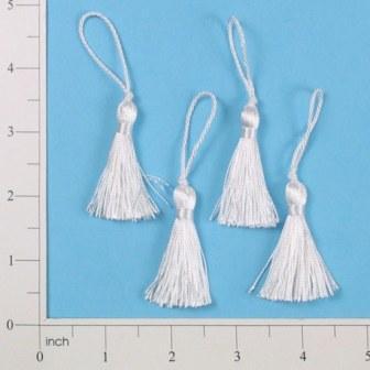 """E5970  Set of 4   White Mini Tassels 2"""""""