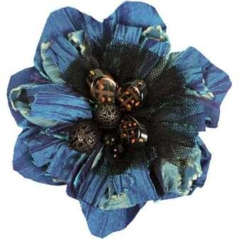 E5981  Teal Multi Floral Beaded Brooch or Applique