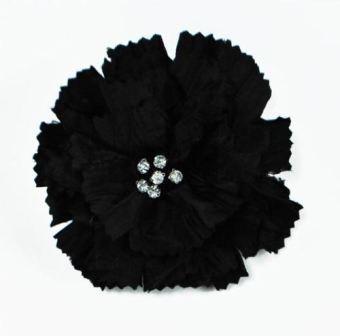"E5982  Black Rhinestone Florantina Jeweled Brooch 4"""