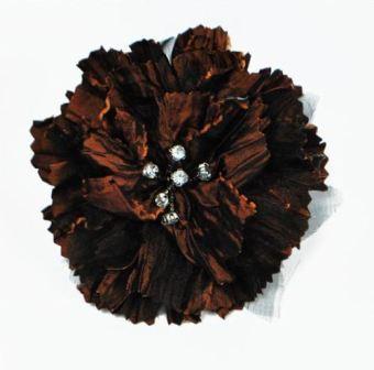 "E5982  Brown Rhinestone Florantina Jeweled Brooch 4"""