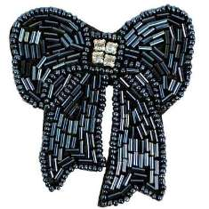 "E6028  Gunmetal Beaded Rhinestone Bow Applique Pin 3"""