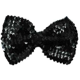 "E5992  Black Sequin Bow Tie Applique  7"""