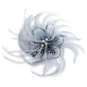 E5998 Grey Feather Pin Clip Brooch