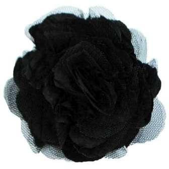 E6000 Black Floral  Pin Clip Brooch