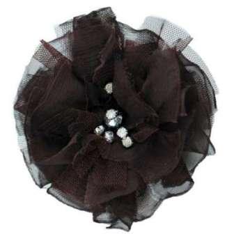 "E6001  Brown Flower Rhinestone Brooch  4.75"""