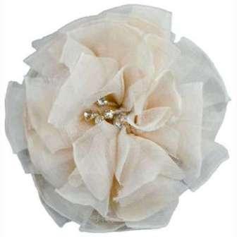 "E6001 Ivory Flower Rhinestone Brooch  4.75"""