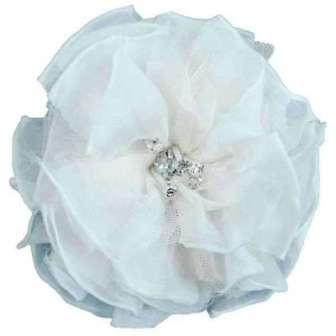 "E6001  White Flower Rhinestone Brooch  4.75"""