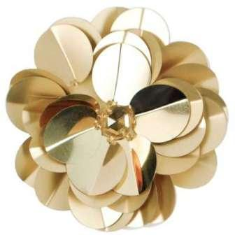 "E6005 Gold Jewel Floral Sequin Beaded Applique 3.5"""
