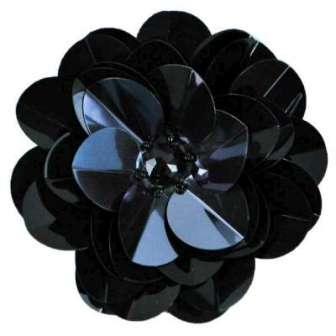 "E6005 Gunmetal Black Jewel Floral Sequin Beaded Applique 3.5"""