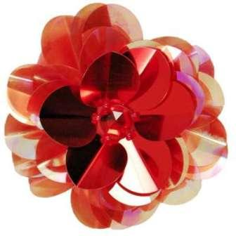 """E6005 Red Jewel Floral Sequin Beaded Applique 3.5"""""""