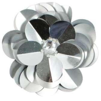 "E6005 Silver Jewel Floral Sequin Beaded Applique 3.5"""