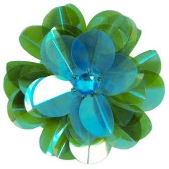"""E6005 Turquoise Green Jewel Floral Sequin Beaded Applique 3.5"""""""
