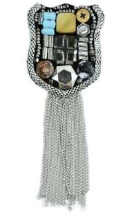 E6006 Badge Beaded Brooch with Chains
