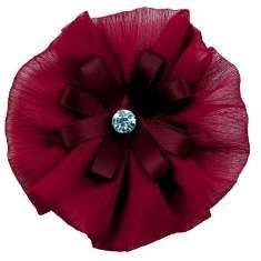 "E6019 Burgundy Floral Brooch Clip Applique 4"""