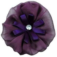 "E6019 Purple Floral Brooch Clip Applique 4"""