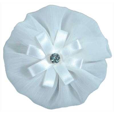 """E6019 White Floral Brooch Clip Applique 4"""""""