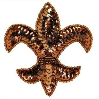 """E6020  Bronze Fleur De Leis Sequin Beaded Applique 3.5"""""""