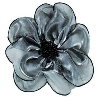 """E6035 Silvery Grey Floral Brooch Clip Applique 8"""""""