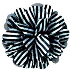 """E6041 Black White Floral Brooch Clip Applique 5"""""""