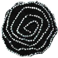 "E6043 Black Silver Floral Brooch Clip Applique 5"""