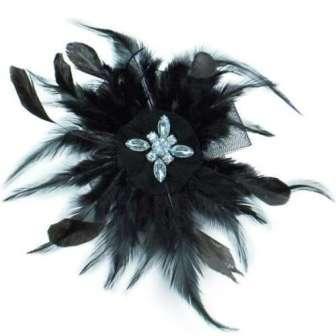 """E6045  Black Feather Clip Brooch Rhinestone Applique 7"""""""