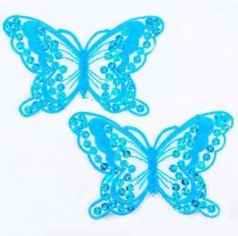 """E6324  Set of Two Turquoise Butterfly Embroidered Sequin Appliques 4"""""""