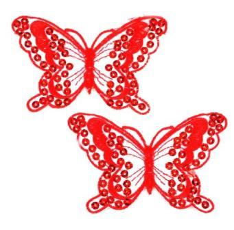 """E6324  Set of Two Red Butterfly Embroidered Sequin Appliques 4"""""""