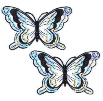 """E6324  Set of Two Black Butterfly Embroidered Sequin Appliques 4"""""""