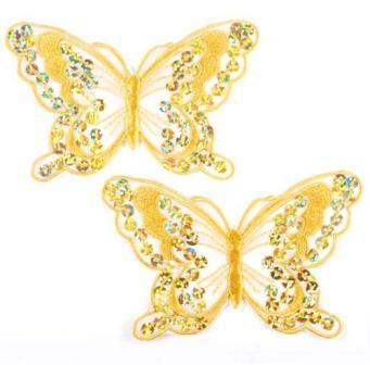 """E6324  Set of Two Gold Butterfly Embroidered Sequin Appliques 4"""""""