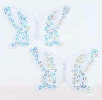 """E6324  Set of Two White Butterfly Embroidered Sequin Appliques 4"""""""