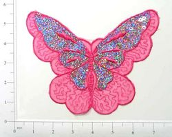 "E6326 Fuchsia Butterfly Embroidered Sequin Applique 6.5"""