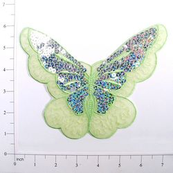 """E6326 Lime Green Butterfly Embroidered Sequin Applique 6.5"""""""
