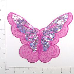E6326 Lavender Butterfly Embroidered Sequin Applique 6.5""