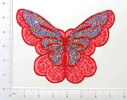 """E6326 Red Butterfly Embroidered Sequin Applique 6.5"""""""