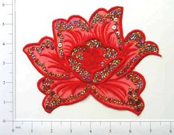 GB66  Red Rose Embroidered Sequin Applique 6""