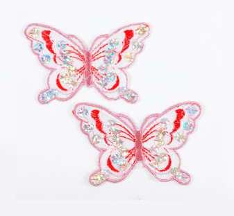 """E6354  Set of (2) Red Mauve Butterfly Sequin Embroidered Appliques 2.5"""""""