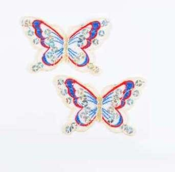 """E6354  Set of (2) Red Blue Butterfly Sequin Embroidered Appliques 2.5"""""""