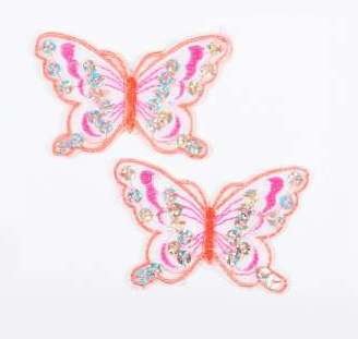 """E6354  Set of (2) Fuchsia Orange Butterfly Sequin Embroidered Appliques 2.5"""""""