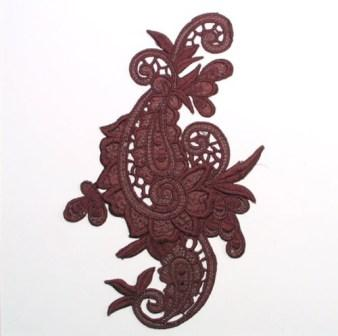 E645  Chocolate Brown Paisley Embroidered Iron On Applique 9.5""