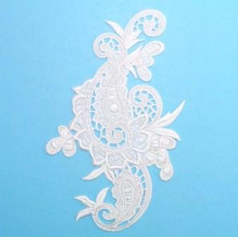 E645 White Paisley Embroidered Iron On Applique 9.5""