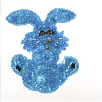 "E711 Turquoise Bunny Sequin Beaded Applique 4.25"""