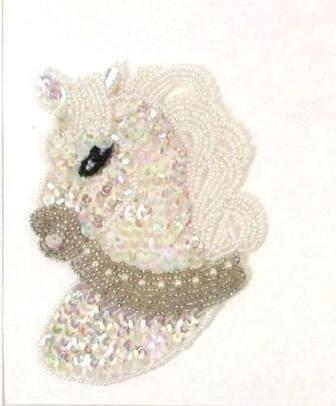 "E733 Beaded Sequin Applique Crystal Horse Pony  5"""
