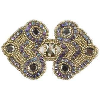 "E787  Antique Silver Jewel Sequin Beaded Applique 4"""