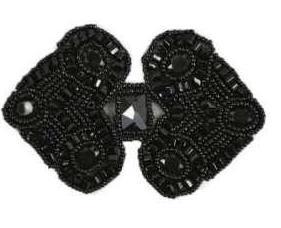 "E787  Black Jewel Sequin Beaded Applique 4"""