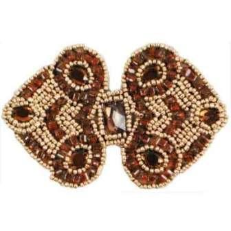 "E787  Brown Gold Jewel Sequin Beaded Applique 4"""